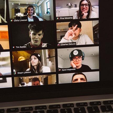 image: joe justice teaching an online class